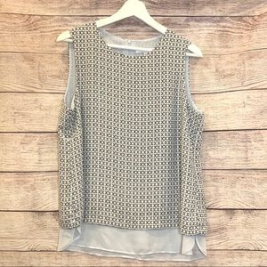 rose and olive sleeveless blouse top